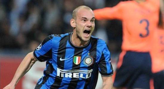 Sneijder rageur face au Barça l'an dernier